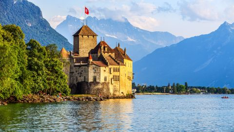 <strong>6. Switzerland.</strong>  Home on the banks of Lake Geneva, Chillon Castle was controlled by the Counts of Savoy for four centuries, through the 16th century.