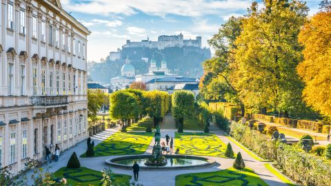 """<strong>The world's 10 happiest countries. </strong>Austria nudged Australia out of the top 10 list this year, While Salzburg is famous for its ties to the real-life """"Sound of Music"""" von Trapp family, it was also home to Wolfgang Amadeus Mozart and the Mirabell Gardens shown here (see the historic Fortress Hohensalzburg in the background)."""