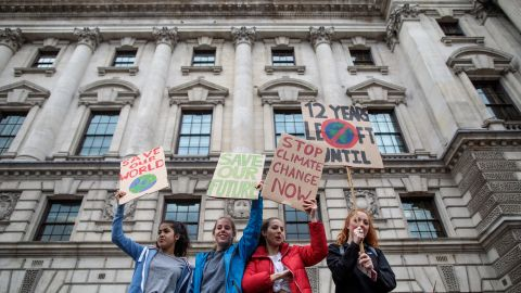 Schoolchildren take part in a student climate protest on March 15, 2019 in London, England. Thousands of pupils from schools, colleges and universities across the UK will walk out today in the second major strike against climate change this year. Young people nationwide are calling on the Government to declare a climate emergency and take action. Similar strikes are taking place around the world today including in Japan and Australia, inspired by 16-year-old Greta Thunberg who criticised world leaders at a United Nations climate conference.