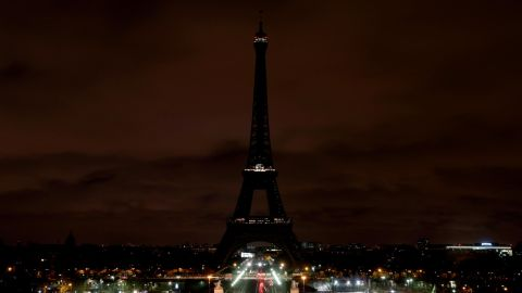 The lights of the Eiffel Tower in Paris are shut off early on March 16 in tribute to the victims of the Christchurch terrorist attack.