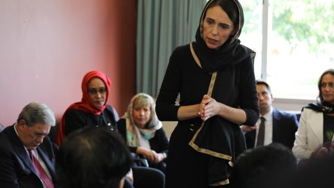 New Zealand Prime Minister Jacinda Ardern meets with Muslim community representatives March 16 in Christchurch.