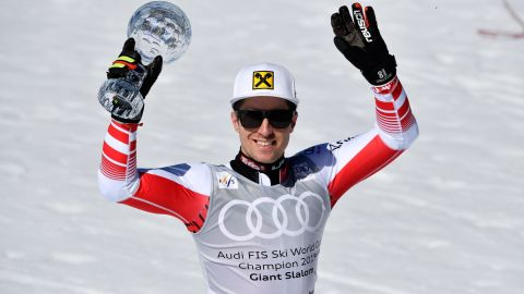 SOLDEU, ANDORRA - MARCH 16: Marcel Hirscher of Austria takes 1st place in the overall standings during the Audi FIS Alpine Ski World Cup Men's Giant Slalom on March 16, 2019 in Soldeu Andorra. (Photo by Alain Grosclaude/Agence Zoom/Getty Images)