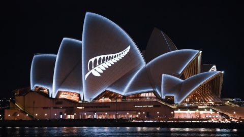 A silver fern is projected onto the sails of the Sydney Opera House on March 16 in memory of the victims of the New Zealand mosque attacks.