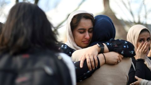 Nayab Khan, 22, cries at a vigil to mourn the victims of the Christchurch mosque attacks in New Zealand, at the University of Pennsylvania in Philadelphia on Friday, March 15.