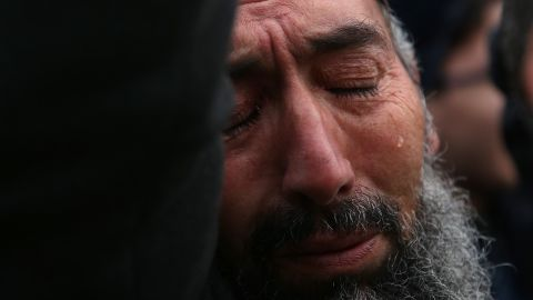 A man cries during a demonstration in Istanbul on March 16.