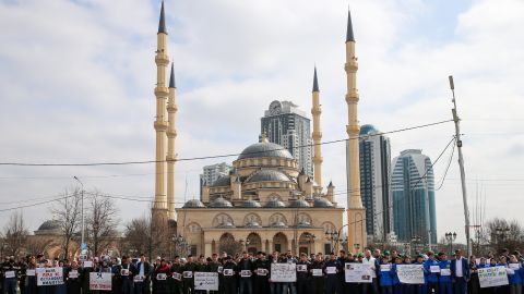 People take part in a memorial to the Christchurch victims in central Grozny, in the Russian region of Chechnya.