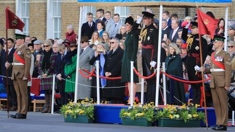 Catherine, Duchess of Cambridge, and Prince William, Duke of Cambridge, observe a moment of silence for the victims of the attacks in Christchurch during the 1st Battalion Irish Guards St. Patrick's Day Parade at Cavalry Barracks on March 17.