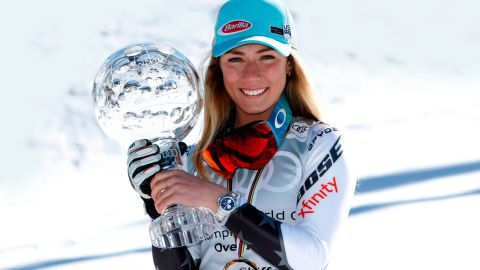 SOLDEU, ANDORRA - MARCH 17: Mikaela Shiffrin of USA wins the globe in the overall standings during the Audi FIS Alpine Ski World Cup Men's Slalom and Women's Giant Slalom on March 17, 2019 in Soldeu Andorra. (Photo by Alexis Boichard/Agence Zoom/Getty Images)