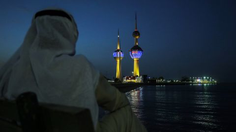 The Kuwait Towers display the flag of New Zealand in solidarity with the victims of the Christchurch mosque attacks in Kuwait City on March 17.