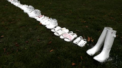 Fifty pairs of white shoes have been laid in front of All Souls Anglican Church in honour of victims who lost their lives on March 18, in Christchurch, New Zealand. 50 people are confirmed dead, with with 36 injured still in hospital following shooting attacks on two mosques in Christchurch on Friday, 15 March. 41 of the victims were killed at Al Noor mosque on Deans Avenue and seven died at Linwood mosque. A 28-year-old Australian-born man, Brenton Tarrant, appeared in Christchurch District Court on Saturday charged with murder. The attack is the worst mass shooting in New Zealand's history. Photo by Hannah Peters/Getty Images