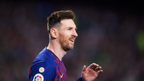 SEVILLE, SPAIN - MARCH 17: Lionel Messi of FC Barcelona reacts during the La Liga match between Real Betis Balompie and FC Barcelona at Estadio Benito Villamarin on March 17, 2019 in Seville, Spain. (Photo by Aitor Alcalde/Getty Images)