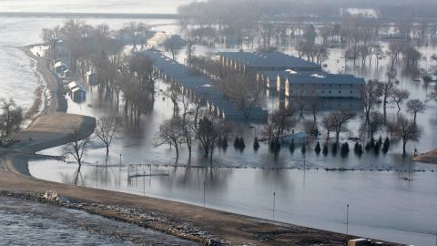 An aerial view of the flooding at the Camp Ashland, Nebraska on March 17, 2019. The levee to the north of the camp broke and water from the swollen Platte River poured thousands of gallons of water into the low-lying area trapping vehicles on the high ground and damaging buildings. Nebraska has experienced its worst flooding ever; displacing hundreds of people and causing millions of dollars in damages to homes, farmland, and cities.