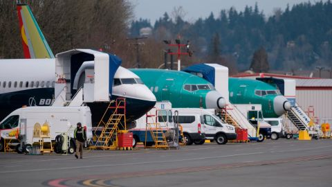 RENTON, WA - MARCH 14: Boeing 737 MAX airplanes, including the 737 MAX 9 test plane (L), are seen at Renton Municipal Airport, on March 14, 2019 in Renton, Washington. The 737 MAX, Boeing's newest model, has been been grounded by aviation authorities throughout the world after the crash of an Ethiopian Airlines 737 MAX 8 on March 10.  (Photo by Stephen Brashear/Getty Images)