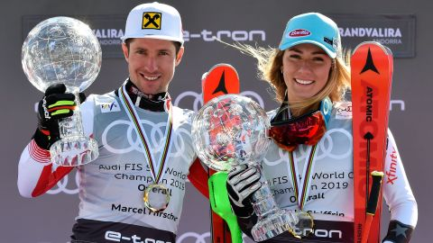 Marcel Hirscher (left) and Mikaela Shiffrin won the men's and women's World Cup overall titles for 2019.