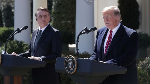 WASHINGTON, DC - MARCH 19: U.S. President Donald Trump and Brazilian President Jair Bolsonaro participate in a joint news conference at the Rose Garden of the White House March 19, 2019 in Washington, DC. President Trump is hosting President Bolsonaro for a visit and bilateral talks at the White House today.  (Photo by Alex Wong/Getty Images)