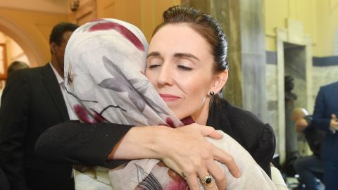 WELLINGTON, NEW ZEALAND - MARCH 19: Prime Minister Jacinda Ardern embraces a woman who attended the House session at Parliament on March 19, 2019 in Wellington, New Zealand. 50 people were killed, and dozens are still injured in hospital after a gunman opened fire on two Christchurch mosques on Friday, 15 March.  The accused attacker, 28-year-old Australian, Brenton Tarrant, has been charged with murder and remanded in custody until April 5. The attack is the worst mass shooting in New Zealand's history. (Photo by Mark Tantrum/Getty Images)