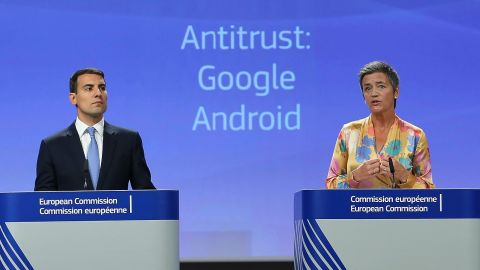 European Union Competition Commissioner Margrethe Vestager gives a at the EU headquarters in Brussels.