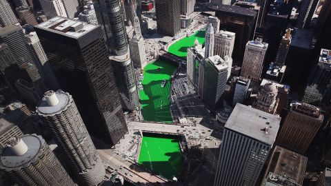 <strong>Chicago, Illinois: </strong>An aerial view of the Chicago River before St. Patrick's Day festivities in the Windy City on March 17. The river has been dyed green each year since 1962 to kick off the celebrations in honor of the patron saint of Ireland.
