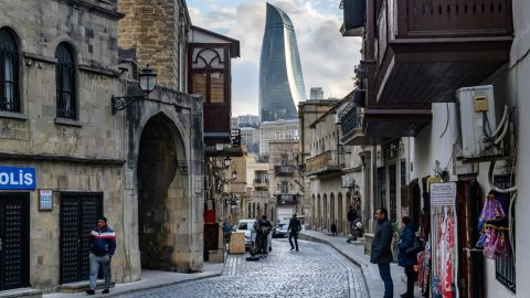 <strong>Baku: </strong>One of the Azerbaijani capital's Flame Towers, three huge buildings shaped like tongues of fire, stands tall over the Old Town, the most ancient section of Baku.