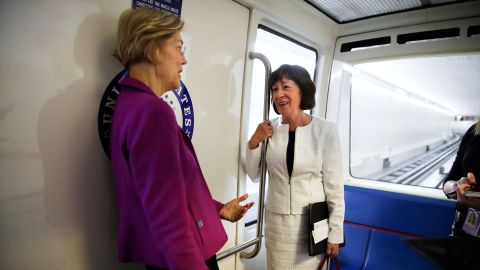 Warren and US Sen. Susan Collins ride the Senate subway in June 2018.