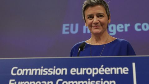 EU Commissioner for Competition Margrethe Vestager smiles during the EU Commissioners' Weekly College meeting at the European Commission headquarters in Brussels on February 6, 2019. (Photo by Aris Oikonomou / AFP)        (Photo credit should read ARIS OIKONOMOU/AFP/Getty Images)