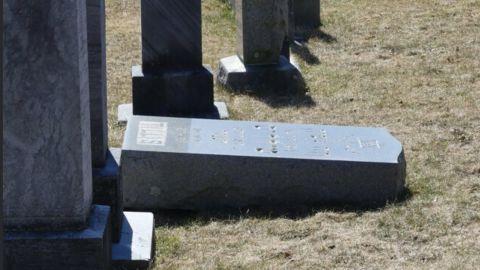 Some gravestones were knocked over.