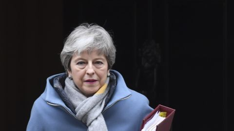 Prime Minister's Questions. Prime Minister Theresa May leaves 10 Downing Street, London, for the House of Commons to face Prime Minister's Questions. Picture date: Wednesday March 20, 2019. Photo credit should read: Stefan Rousseau/PA Wire URN:41875654 (Press Association via AP Images)