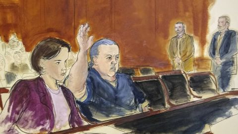 A courtroom sketch shows Cesar Sayoc during a hearing in a New York federal court last November.