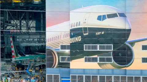 RENTON, WA - MARCH 11: The Boeing 737-8 is pictured on a mural on the side of the Boeing Renton Factory on March 11, 2019 in Renton, Washington. Two of the aerospace company's newest model airliners have crashed in less than six months. (Photo by Stephen Brashear/Getty Images)