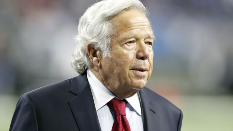 FILE - In this Sept. 23, 2018, file photo, New England Patriots owner Robert Kraft walks on the sidelines before an NFL football game against the Detroit Lions in Detroit. Kraft has pleaded not guilty to two counts of misdemeanor solicitation of prostitution. Kraft's attorney Jack Goldberger filed the written plea in Palm Beach County, Fla., court documents released Thursday, Feb. 28, 2019. The 77-year-old Kraft is requesting a non-jury trial. (AP Photo/Carlos Osorio, File)