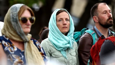 People gather at the Ponsonby Masjid Mosque during an open service to all religions Friday in Auckland, New Zealand.