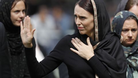 New Zealand Prime Minister Jacinda Ardern  leaves Friday prayers at Hagley Park in Christchurch on March 22.
