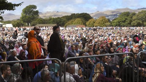 Friday prayers and two minutes of silence are observed for victims at Hagley Park in Christchurch on March 22.