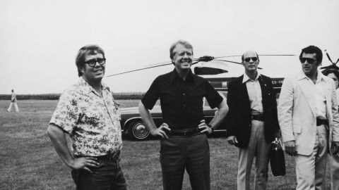 Carter, second from left, and his brother Billy, left, visit Georgia's St. Simons Island in 1977.