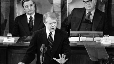 """Carter delivers his State of the Union address to a joint session of Congress in January 1978. """"Government cannot solve our problems,"""" he said. Anti-government sentiment at the time was brought on by economic pessimism along with the end of the Vietnam War and the unraveling of the Watergate saga."""