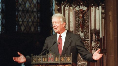 """Carter addresses a United Nations interfaith service at New York's Trinity Church in September 1991. His speech was entitled """"The Present Role of the United Nations in a Changing World."""""""