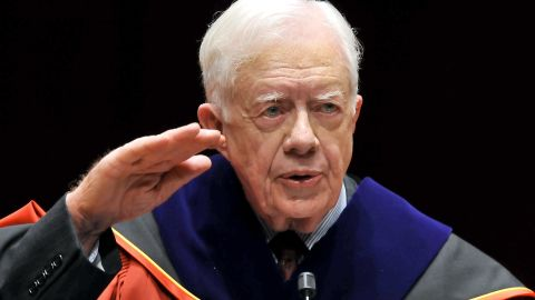 """Carter delivers a speech in Seoul, South Korea, after receiving an honorary doctorate degree from Korea University in March 2010. During a four-day visit to South Korea, Carter urged direct talks with North Korea, saying a failure to negotiate nuclear disarmament might lead to a """"catastrophic"""" war."""