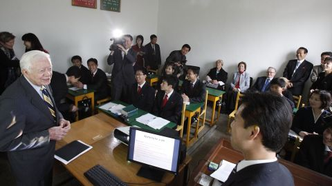 In April 2011, Carter addresses students at the Pyongyang University of Foreign Studies in Pyongyang, North Korea.