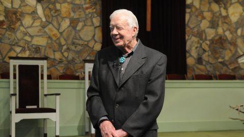 Carter teaches Sunday School on Easter Sunday 2014 at Maranatha Baptist Church in Plains, Georgia. Carter teaches Sunday School at the church several times a year.