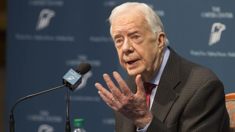 """Carter talks about <a href=""""http://www.cnn.com/2015/08/20/politics/jimmy-carter-cancer-update/index.html"""" target=""""_blank"""">his cancer diagnosis</a> during a news conference at the Carter Center in Atlanta in August 2015. Carter announced that his cancer was on four small spots on his brain and that he would immediately begin radiation treatment. In December 2015, <a href=""""http://www.cnn.com/2015/12/06/politics/jimmy-carter-cancer-free/index.html"""" target=""""_blank"""">Carter announced</a> that he was cancer-free."""