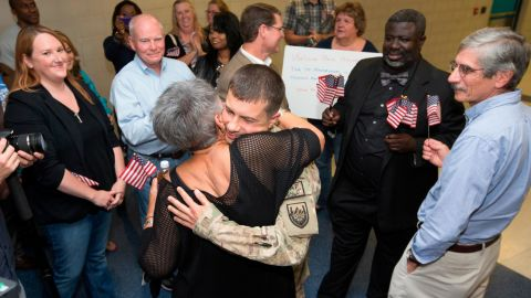 Buttigieg is welcomed home in September 2014 after serving a seven-month tour of duty in Afghanistan.