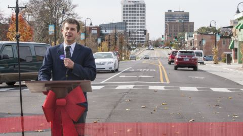 Buttigieg speaks in November 2014 during a presentation ceremony for a newly redeveloped area in South Bend.