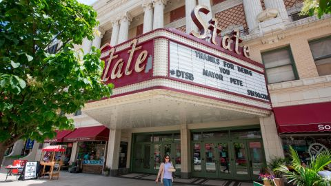 """The State Theater in downtown South Bend shows its support for """"Mayor Pete"""" after Buttigieg <a href=""""https://www.southbendtribune.com/news/local/south-bend-mayor-why-coming-out-matters/article_4dce0d12-1415-11e5-83c0-739eebd623ee.html"""" target=""""_blank"""" target=""""_blank"""">came out</a> as gay in June 2015."""