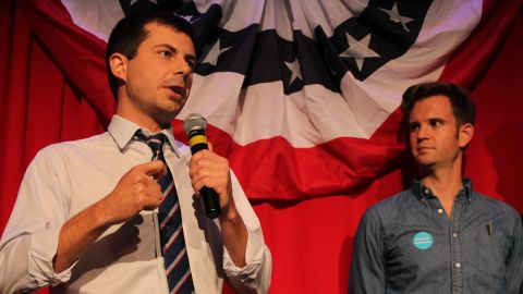 Buttigieg speaks at a debate-watching party in Chicago in September 2016. He was stumping for Democratic presidential candidate Hillary Clinton.