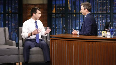 """Buttigieg appears on """"Late Night with Seth Meyers"""" in June 2017."""