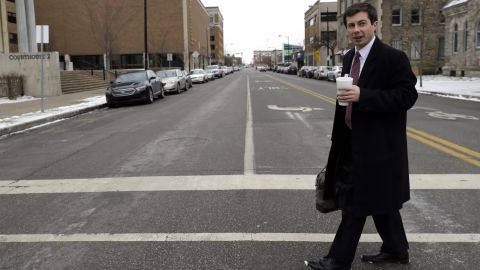 Buttigieg talks with a reporter in downtown South Bend in January 2019.