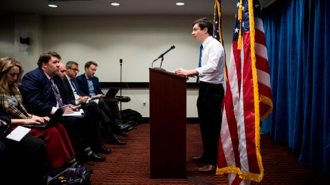 Buttigieg speaks to reporters in Washington after announcing his presidential ambitions.