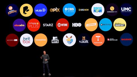 Peter Stern, vice president of Services at Apple Inc., speaks during a company product launch event at the Steve Jobs Theater at Apple Park on March 25, 2019.
