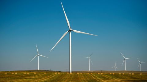 MATHESON, CO - SEPTEMBER 18: Xcel Energy's Rush Creek Wind Farm and Transmission project turbines along CR 149 in Matheson mix agriculture and technology in the largest single-phase wind project in the United States, September 18, 2018 in Matheson, Colorado. (Photo by Joe Amon/The Denver Post via Getty Images)