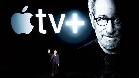 Director Steven Spielberg speaks during the Apple TV+ launch
